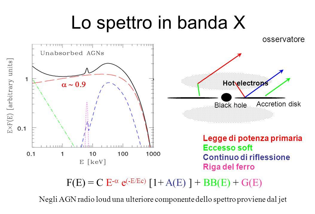 Lo spettro in banda X F(E) = C E-a e(-E/Ec) [1+ A(E) ] + BB(E) + G(E)